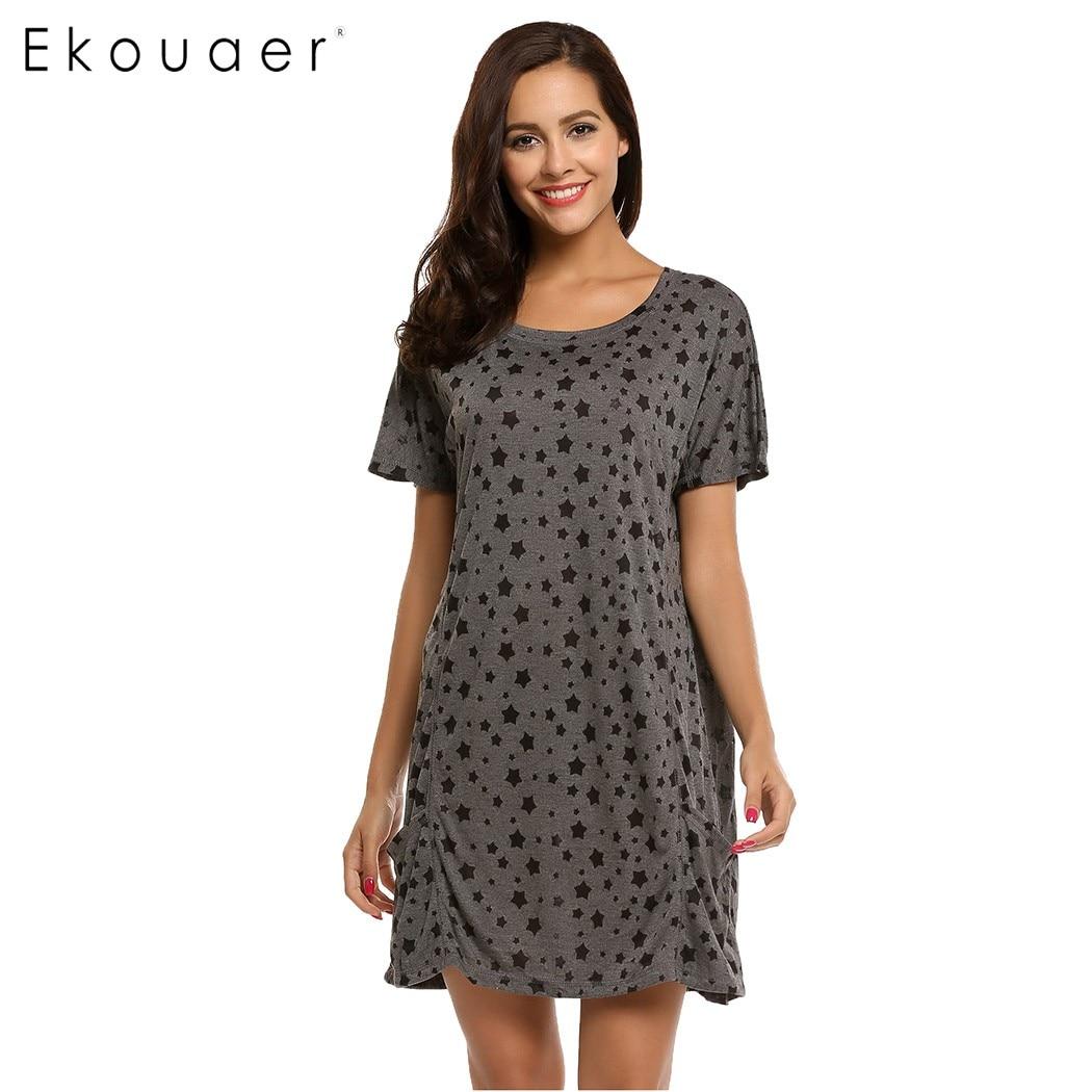 Ekouaer Nightgown Sleepshirts Summer Casual Loose Star Print Nightwear Women O-Neck Short Sleeve Pocket Sleepwear Home Clothing