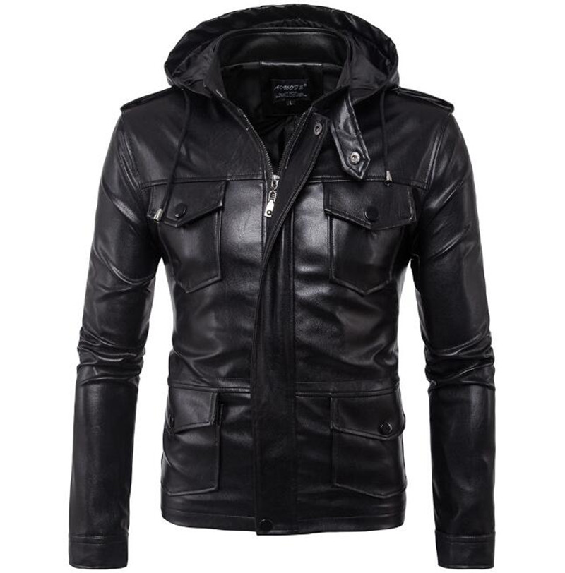 New Motorcycle Jackets Men PU Leather Jacket Vintage Retro Zipper Hooded Biker Punk Classical Slim Windproof Moto Jacket free shipping new vintage brand clothing mens cow leather jackets men genuine leather biker jacket motorcycle homme fitness
