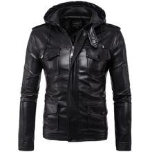 New Motorcycle Jackets Men PU Leather Jacket Vintage Retro Zipper Hooded Biker Punk Classical Slim Windproof Moto Jacket