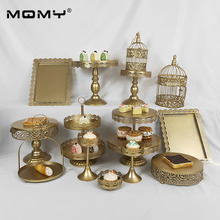14 Pcs Cupcake Gold White Pink Metal 3 Tier Fancy Crystal Wedding Cake Stand