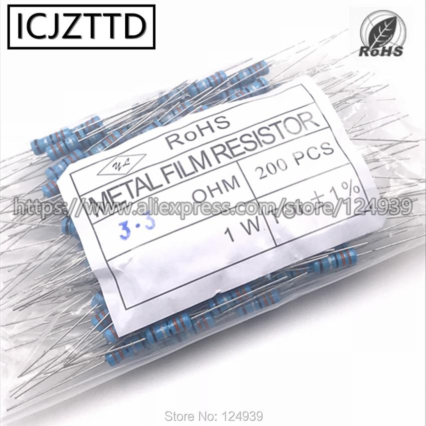 200 штук пакет 1 Вт 1% умственный пленочный резистор 9.1R 10R 12R 15R 18R 20R 22R 24R 27R 30R 33R 36R 39R 43R 47R 51R 56R 62R 68R 75R 82R 91R