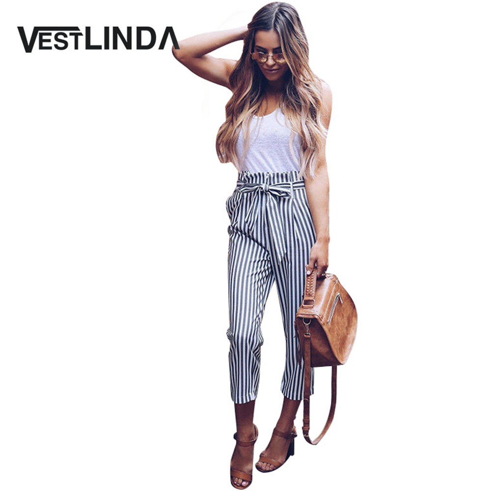 VESTLINDA Striped   Pants   Belted Tapered High Waist   Pants     Capri   Streetwear Trousers Women 2018 Casual Loose Summer   Pants   Female