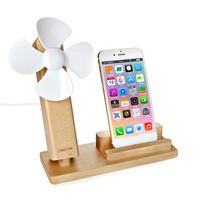 Wooden Mobile Phone Holder Stand Adjustable Supports With Cooling Fans