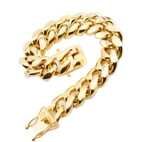 16mm Wide Top Design Gold Color Miami Curb Cuban Link Mens Boys Bracelet Chain Stainless Steel Wristband Customize Size 7 11INCH