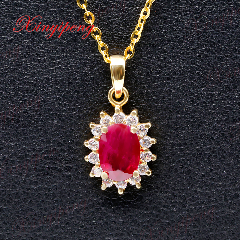 цена на Xinyipeng18K yellow gold inlaid natural ruby pendant necklaces for women beautiful style The main stone weight 1 ct
