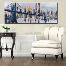 Hand Painted Large City BRIDGE Landscape Oil Painting Abstract Wall Art Modern Canvas Pictures Home Decor BEST SELLING