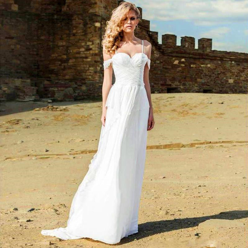 026eb0e94c0 White Spaghetti Straps Pleated Beach Wedding Dress 2017 Vintage Boho Lace  Up Boho Chiffon Bride Dresses Off Shoulder on Aliexpress.com