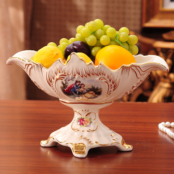 Luxury European decor Home Furnishing ceramic fruit plate decoration of modern living room set wedding gift