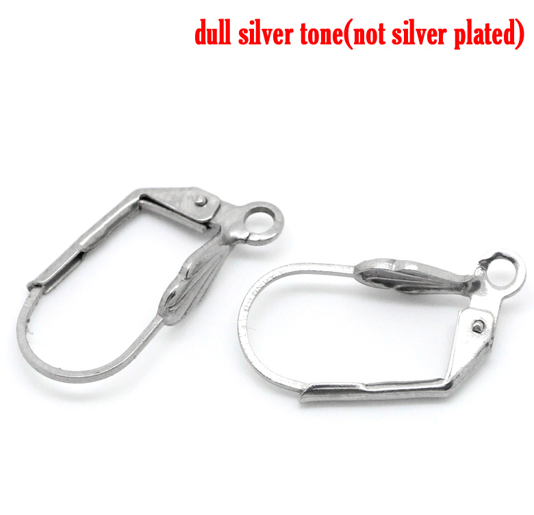 DoreenBeads Stainless Steel Earring Components Clips Earring Findings Silver Color 19mm( 6/8
