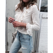 30d17193fb2e0b Women's Summer Long Sleeve Blouse Ruffle Front Shirt Ladies Office Chiffon  Tops Women Blouses(China