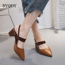 BYQDY Big Promotion Narrow Band Woman Pumps Pointed Toe Fashion PU Leather Square Heel Summer Sandals Slingbacks Size 40