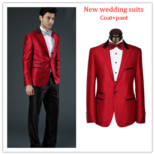 Hot sale men red suit, fashion brand groom red wedding tuxedo suit ...