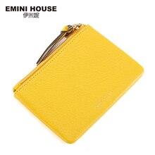 EMINI HOUSE Genuine Leather Coin Purse Muti-Colors Women Mini Purses Coin Wallet Fashion Women Purses Zipper Clutch Purse