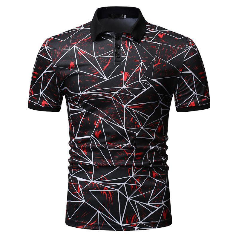 Polo Collar Social Shirt Mens Clothing Tees Fashion Summer Tops for Men Short sleeve Hip hop Blue Red