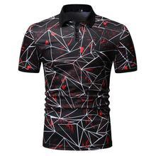 купить Polo Collar Social Shirt Men's Clothing Tees Fashion Summer Tops Polo Shirt for Men Short sleeve Men Hip hop Blue Red дешево
