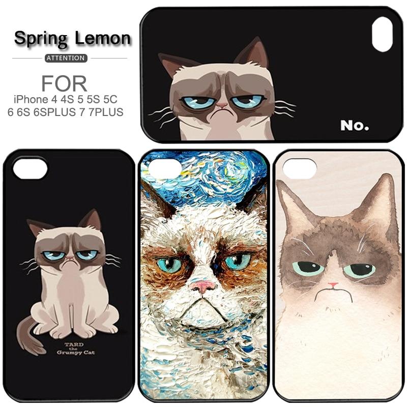 New Grumpy Cat PC Case for Iphone 4/4S/5/5S/5C/6/6s/6plus/6splus/7/7plus