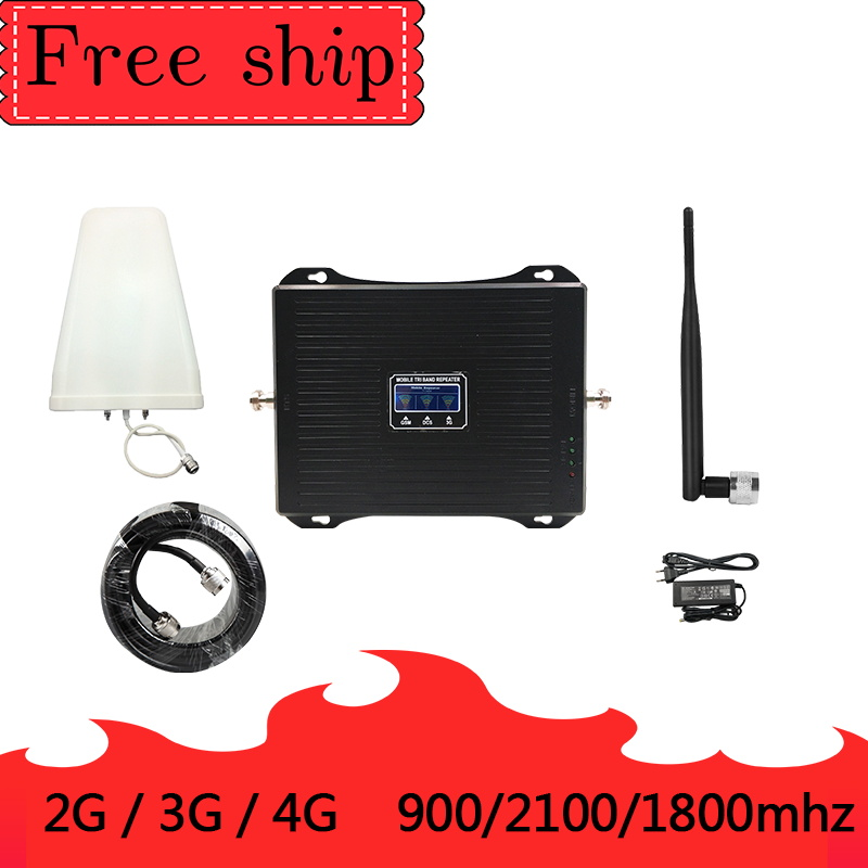 2G 3G 4G Triple Band Cell Phone Signal Booster 70dB GSM 900 LTE 1800 WCDMA 2100mhz 30dBm Mobile Cellular Signal Repeater Whip