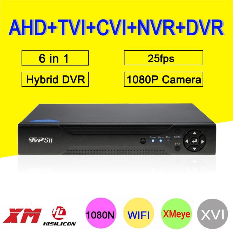 1080 p CCTV Caméra XMeye Hi3520D 4 Canaux 4CH 1080N 25fps 6 en 1 Hybride Coxail NVR TVI CVI AHD DVR Surveillance Enregistreur Vidéo
