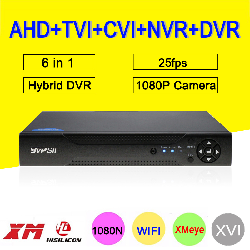 1080P CCTV Camera XMeye Hi3520D 4 Channel 4CH 1080N 25fps 6 in 1 Hybrid Coxail NVR TVI CVI AHD DVR Surveillance Video Recorder