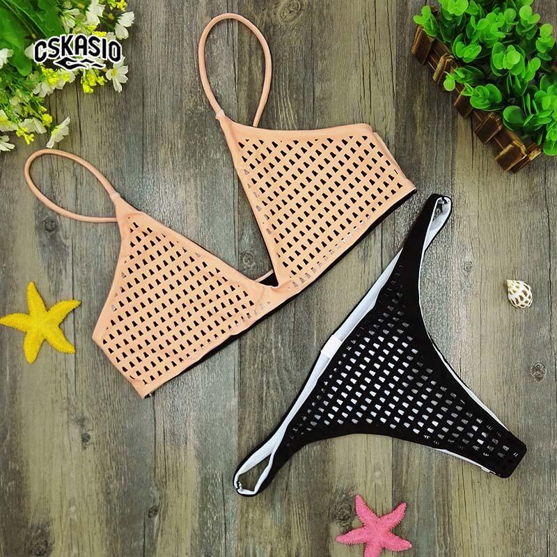 2017 NEW Bollow Out Үшбұрышты Bikini Set Bikinis - Спорттық киім мен керек-жарақтар - фото 1