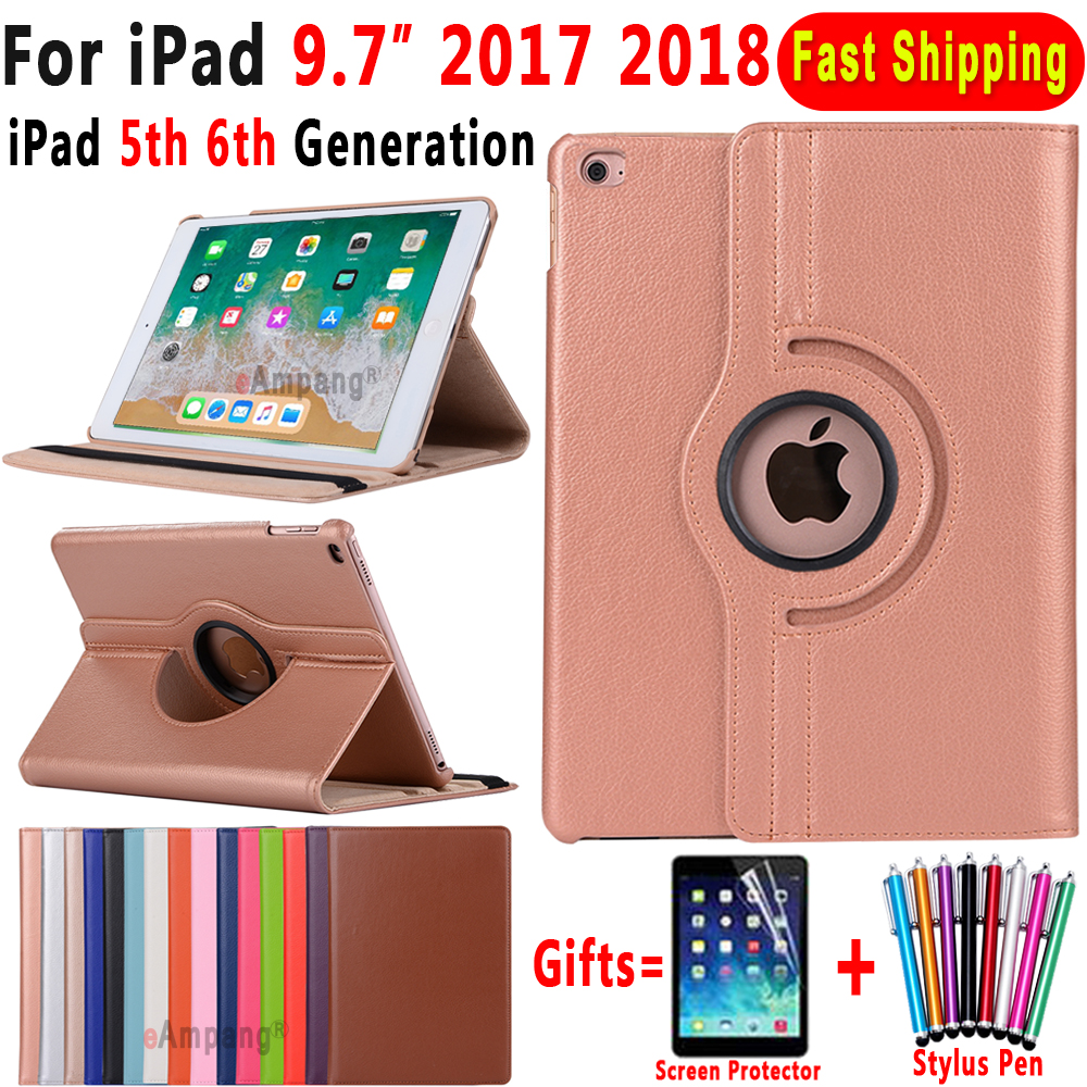 360 Degree Rotating Leather Smart Cover Case for Apple iPad 9 7 2018 2017 A1822 A1823