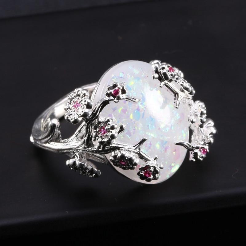 ZHIXUN New Fashion Flower Sliver Vintage Opal Ring for Woman Wedding - Նորաձև զարդեր - Լուսանկար 6