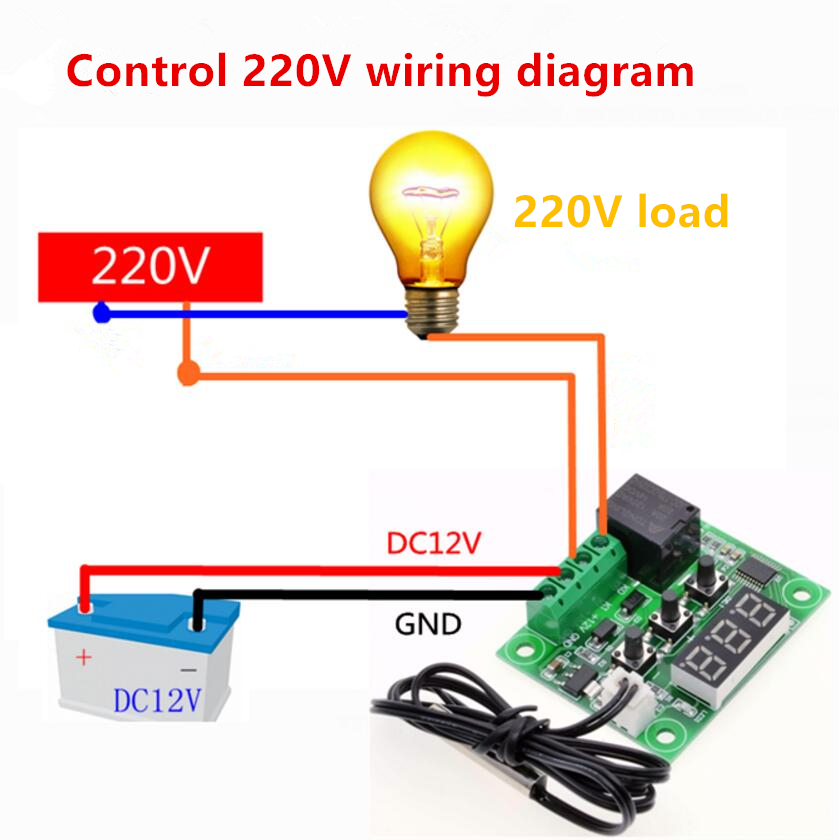 XH-W1209 Digital Display Temperature Controller High Precision Temperature Controller Temperature Control Switch Mini Temperatur