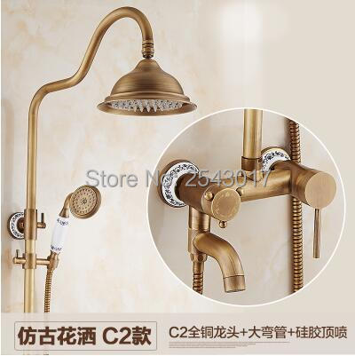 Free Shipping Bathroom Shower Set Antique Brass Finish Wall Shower Faucet with Ceramic Hand Shower&Tub Mixer Tup ZR13