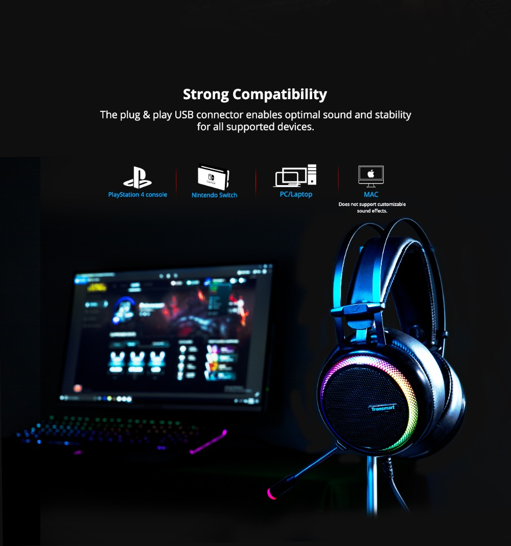 Tronsmart Glary Gaming Headset ps4 headset Virtual 7.1,USB Interface Gaming Headphones for ps4,nintendo switch,Computer,Laptop 06