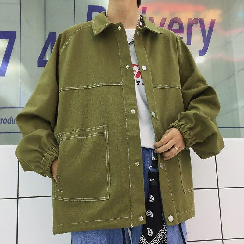 Automne Jeunesse M xl army Hommes Lâche Tricolore pourpre Populaire Black Personnalité Nouveau Chemise Grande Poche De Et Green Casual Printemps Mode Veste fqYgxaw
