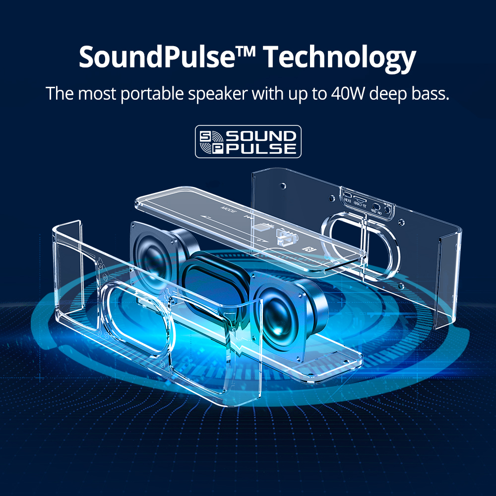 Tronsmart Élément Mega Bluetooth Haut-Parleur Sans Fil Haut-Parleur 3D Digital Sound TWS 40 W Sortie NFC 20 m Portable Haut-Parleur MicroSD carte - 3