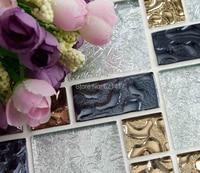 White Silver Gold Foil Electroplate Mosaic Tiles HMGM1097 Backsplash Kitchen Wall Tile Sticker Bathroom Floor Tile