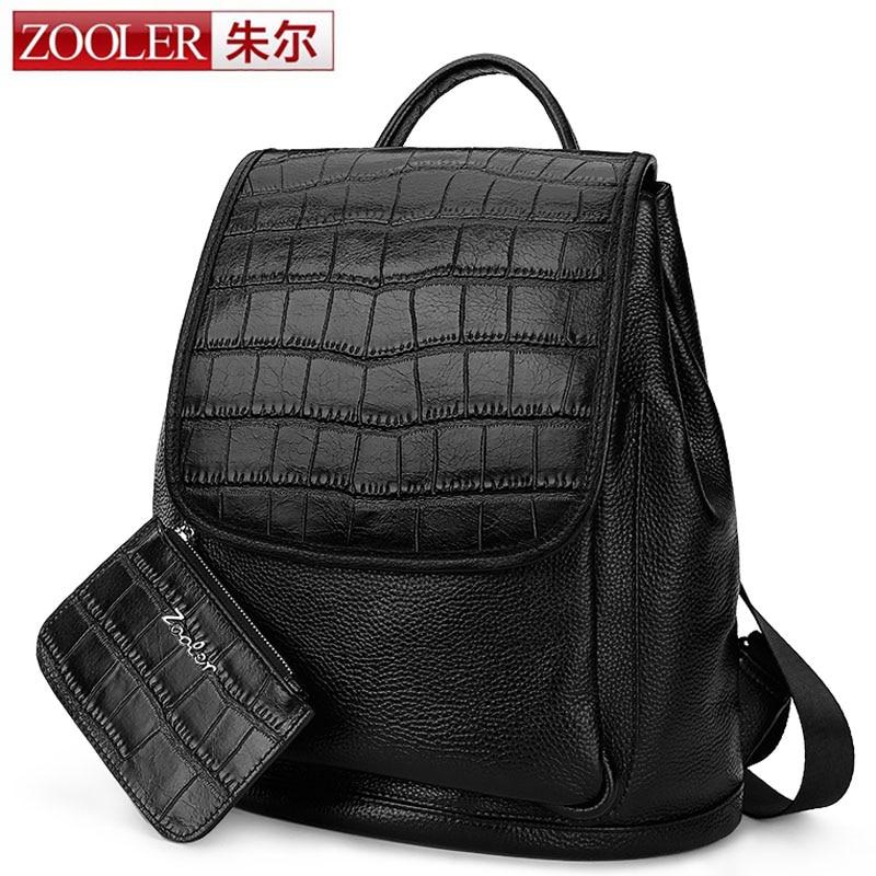ZOOLER 100% Genuine Leather Vintage Crocodile Women Backpack School Girl Day Bag Fashion Leisure Ladies Travel Bags Backpacks великие полководцы и флотоводцы