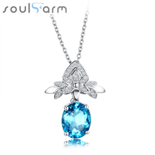 Natural blue topaz Necklaces woman Luxury Real Pure 925 Silver Pendant Fine Jewelry Trendy Neclace Pendant party woman Necklace