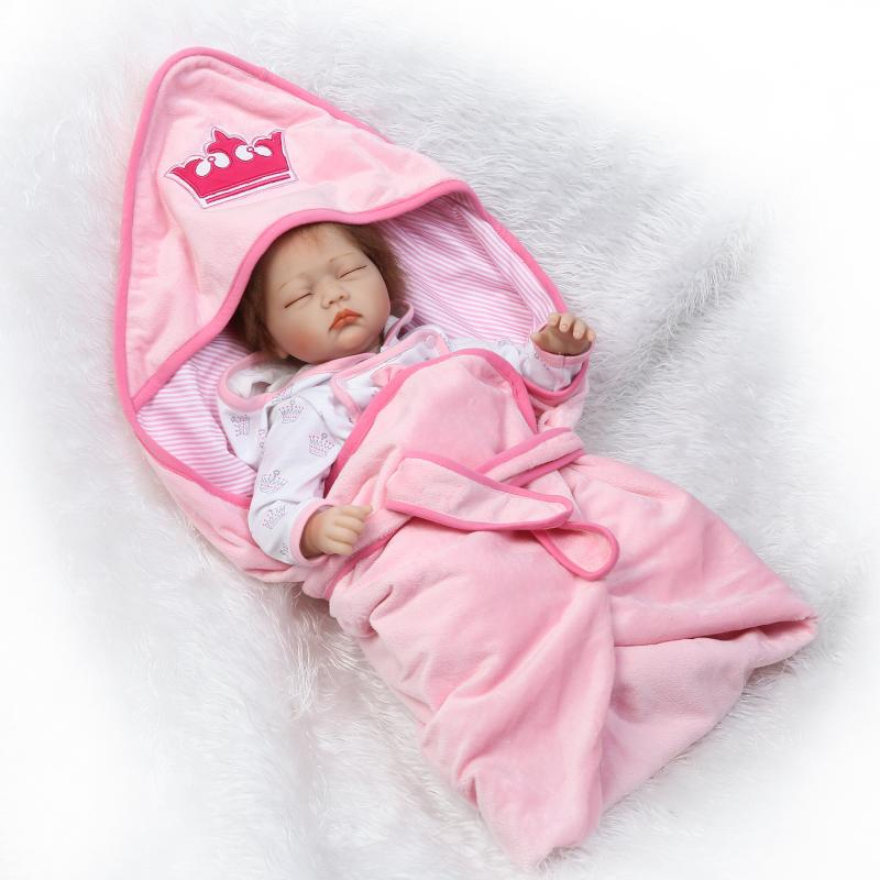 New Arrival 55CM Pink Silicone Bebe Reborn Girl Dolls Baby Alive Sleeping Girl Doll as Kids Christmas Gifts Birthday Doll Toy new arrival 55cm blue eyes pink clothes lifelike baby soft girl doll with free plush toy as kids xmas gifts birthday doll toys
