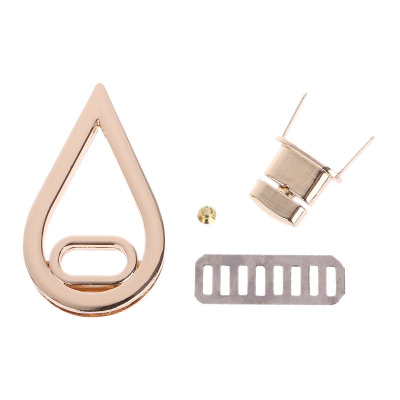 THINKTHENDO Water Drop Shape Clasp Turn Lock Twist Locks DIY Leather Handbag Bag Hardware Gold Bag Accessories 3.3x5.7cm