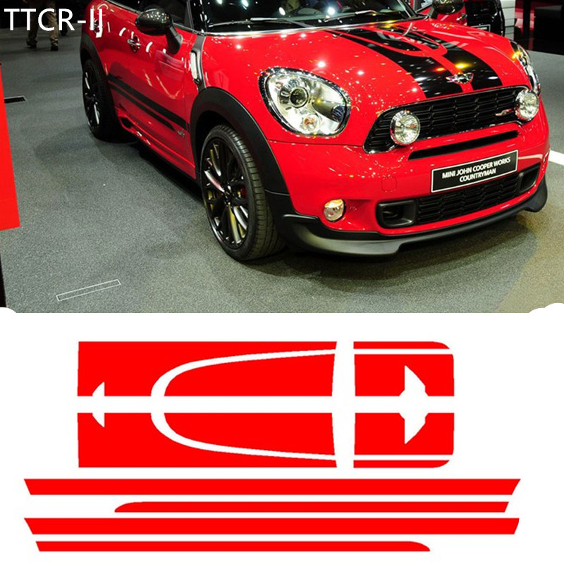 Mini Cooper Accessories 2013 >> Us 33 57 27 Off Car Side Racing Stripes Hood Trunk Rear Decal Sticker For Mini Cooper Countryman 2013 2016 Car Styling Accessories Car Stickers In