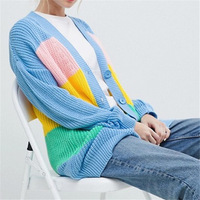 Try Everything Oversized Rainbow Sweater Women 2019 Long Sleeve Cardigan Women Single Breasted Casual Top Female Camperas Mujer