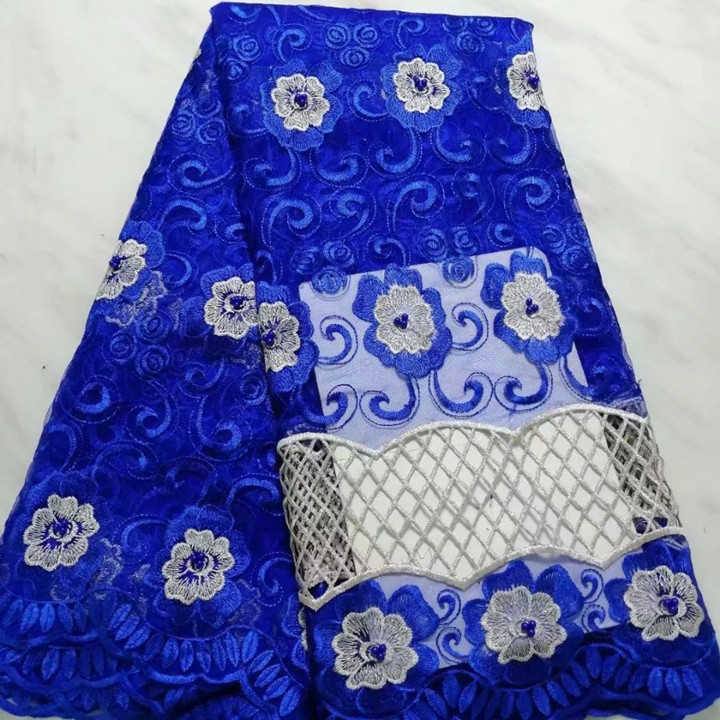 5 Yards/pc beaitufl bleu royal français net dentelle motif coeur broderie avec perles africain maille dentelle tissu pour robe BN127-9