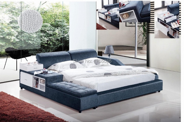 2015NEW diseño suave cama, hogar & HOTEL cama, cuero, tela, madera ...