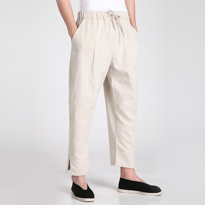 New Arrival Beige Chinese Mens Kung Fu Trousers Cotton Linen Pants Wu Shu Clothing Size S M L XL XXL XXXL 2608