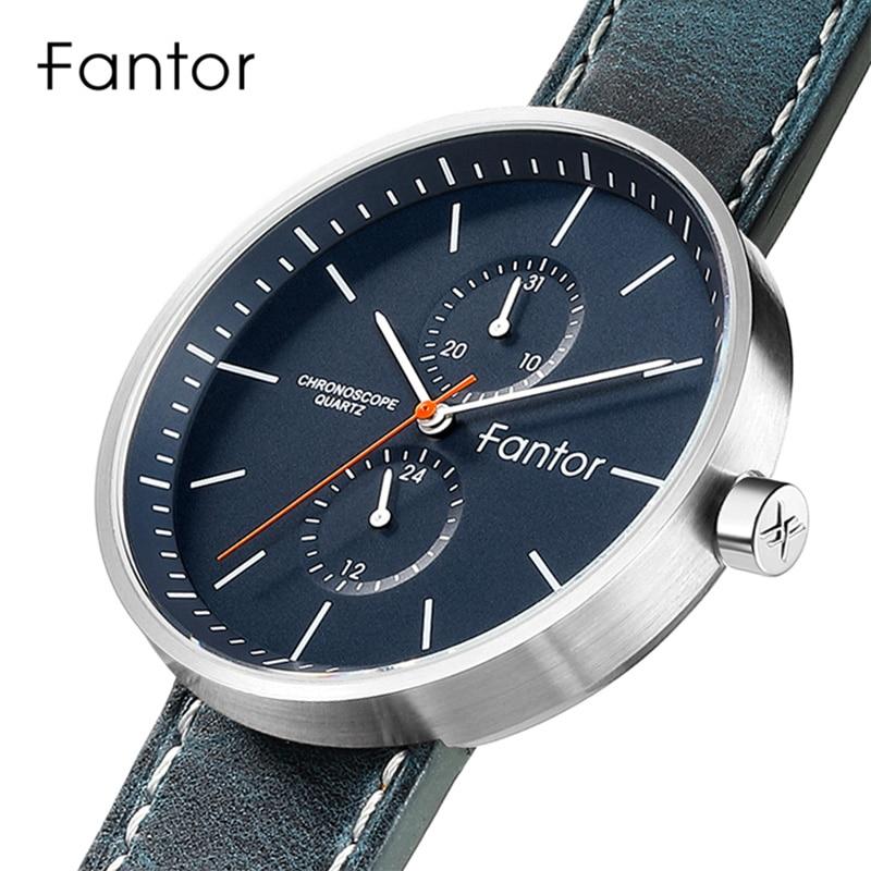 Fantor Men Watch Blue Leather Strap Luxury Casual Quartz Chronograph Watches Slim Thin Top Brand Fashion Man New Wristwatch