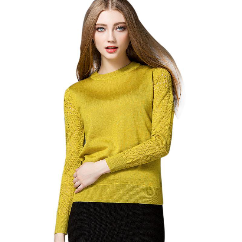 Mujeres Sexy Ahuecan Hacia Fuera El Suéter Nuevo Otoño Invierno Amarillo Encabez