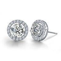 Luxury Quality 2 Carats SONA Synthetic Gem Halo Studded Wedding Earrings, Wedding Jewelry,Wedding Jewellry, Earrings