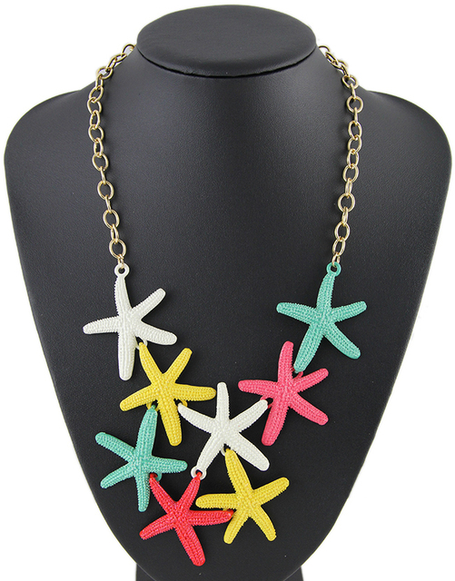 2015 Summer Style Women Necklace Joias Gold Plated Statement Lovely Starfish Necklace Collares Mujer Free Shipping R33043