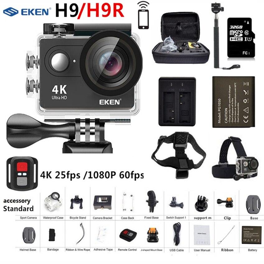 D'origine EKEN H9 H9R caméra d'action Ultra HD 4 K 25fps 1080 P 60fps WiFi 2 170D aller Mini Pro Sous-Marine casque étanche caméra de sport
