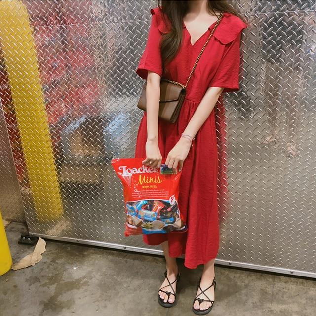 Женское летнее красное сексуальное милое платье с воротником Питер Пэн красное однотонное длинное платье миди женское свободное платье Vestido Femme Ete сарафан Sukienki