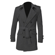 Men Epaulets Slim Fit Double Breasted Belted Worsted Coat Gray
