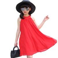 Sleeveless Black Chiffon Dresses For 3 14 Yrs Baby Girls Summer Clothes Korean Elegant Simple Loose