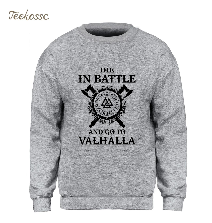 Odin Vikings Sweatshirt Men Die In Battle And Go To Valhalla Hoodie Crewneck Sweatshirts 2018 Winter Autumn Hip Hop Streetwear(China)